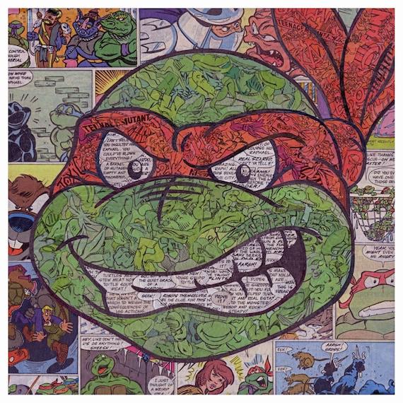 Teenage Mutant Ninja Turtles Raphael Comic Collage Print Etsy