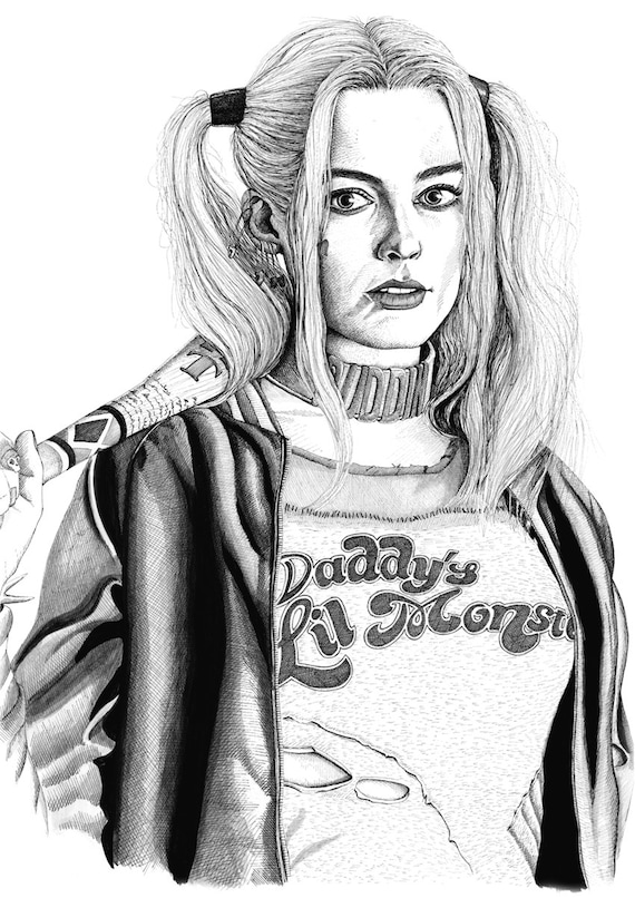 Harley Quinn impresión de dibujo | Etsy