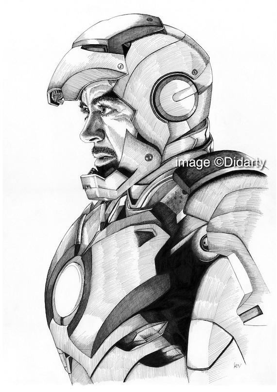 Impresión de retrato de hombre de hierro   Etsy