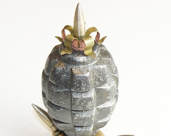 Ashtray Grenade Trench Art Military Table Stand Made from WW2 Shells Cartridges Good Gift for Smoking Man