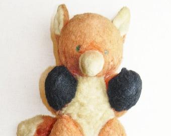 Original Soviet Russian Vintage Plush Toy Fox Doll USSR 26 cm Sawdust
