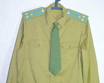 Original Soviet Russian Army Colonel Air Force Officer Shirt Tie Uniform Large
