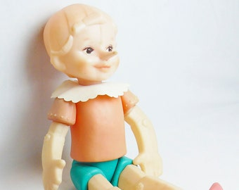"Vintage Russian  Doll ""Pinokio"" Tale Plastic Pinocchio Toy 50 cm"