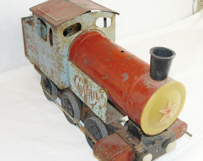 "Original Old Soviet Russian Vintage Metal Toy ""Locomotive"" Railway Train USSR from 60's"