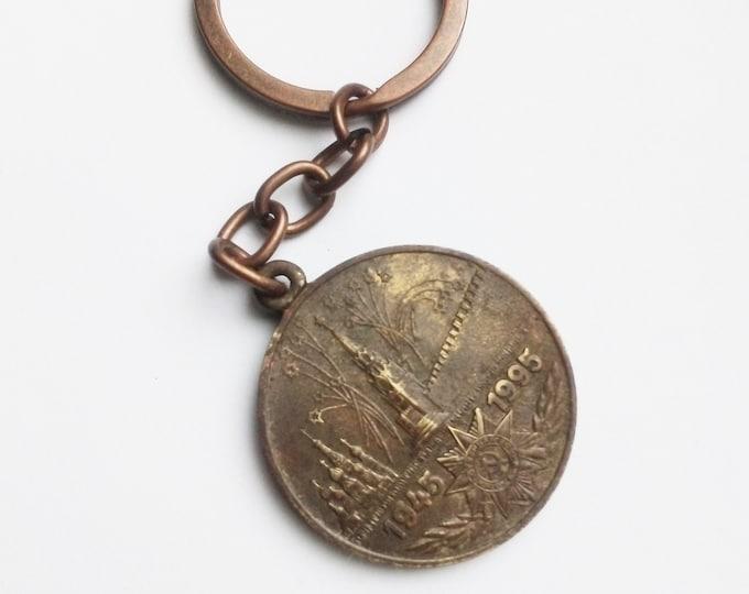 Brand New Key Ring with Original Soviet Russian Medal 50th Anniversary of Soviet WW2 Victory USSR.Keychain Veterans Medal.Handmade Bronzing.