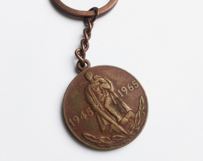 Brand New Key Ring with Original Soviet Russian Medal 20th Anniversary of Soviet WW2 Victory USSR.Keychain Veterans Medal.Handmade Bronzing.