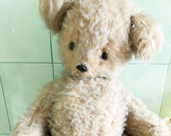 Original Soviet Russian Vintage Plush Sawdust Toy Teddy Bear Doll USSR 80 cm