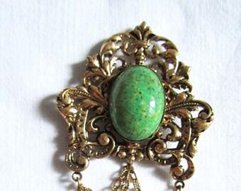 Vintage Soviet Period Bronze/Peking stone Brooch.Vintage Czech Jewelry.Old Broach. CSSR.Czech Bijouterie.