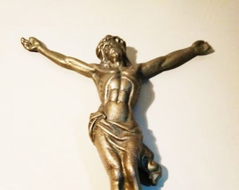Large Vintage Bronze Brass Crucifix Wall Cross Jesus Crucifixion Raised Corpus