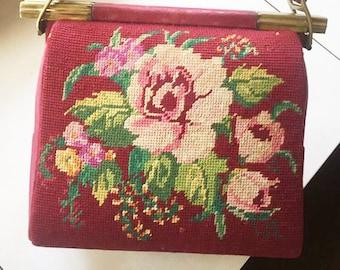 Original Vintage Textile Lady's Bag With Embroidery. Chamois Leather Women's Shoulder Bag. Shoulder Textile Bag. 1950's - 1960's