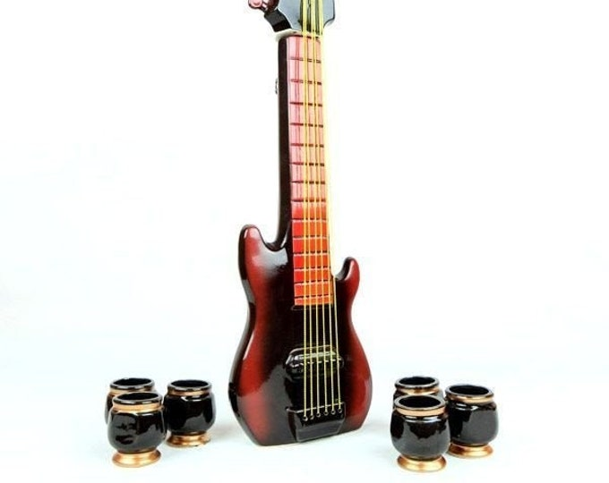 """New Gift Souvenir Decanter Set For Alcohol """"Electric Guitar"""". Ceramic Bottle and 6 Wineglasses. Shtof , Jug for Alcohol"""