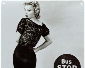 "New Loft Interior ""Marilyn Monroe Bus Stop""  Sex Symbol Movie Cinema Actress Vintage Style Decor Metal Wall Tin Plate Sign"