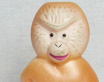 Vintage Original Soviet Russian Rubber Toy Orange Monkey Doll USSR