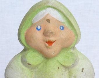 Vintage Original Soviet Russian Rubber Toy Babushka Doll  USSR