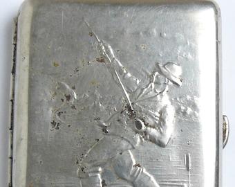 Cigarette Case Box Vintage Soviet Russian Fisherman USSR