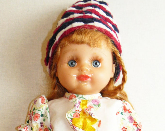 Vintage Toy Doll Plastic Babe Soviet Russian Baby Girl Clothes Child 32 cm/12.6 in USSR