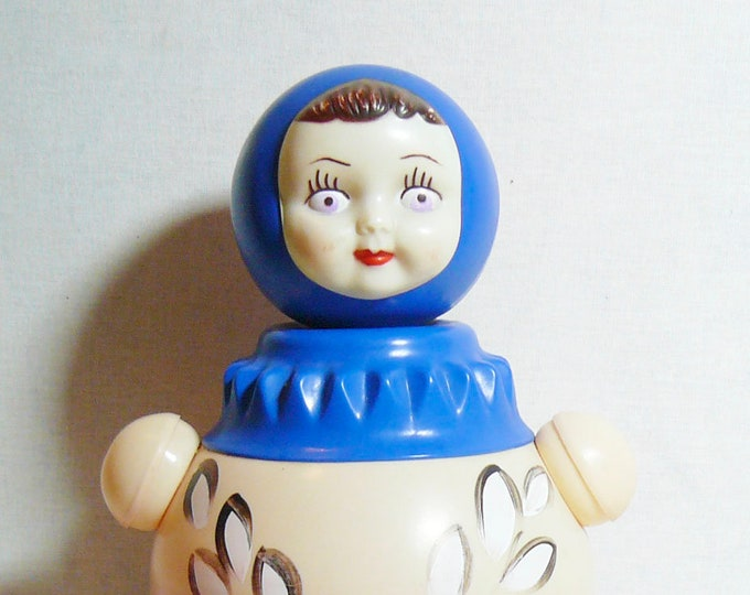 Russian Vintage Soviet Doll Nevalyashka Celluloid Roly Poly Musical Toy 29 cm