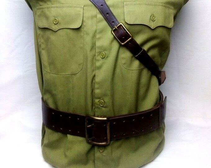 Original Russian Soviet Officer Uniform Leather Sam Browne Belt USSR