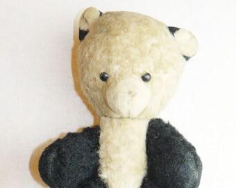 Original Soviet Russian Vintage Plush Toy Teddy Bear Panda Doll USSR 30 cm Sawdust