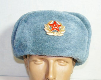 Vintage Russian Soviet Army Soldier Winter Hat Badge Military Uniform L Size 58
