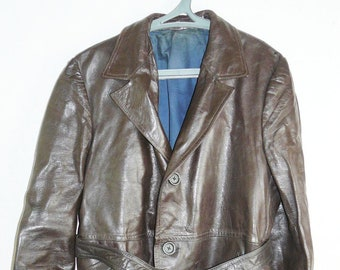 Vintage Pre WW2 German Brown Leather Coat Real Nappa Good Condition Cloak