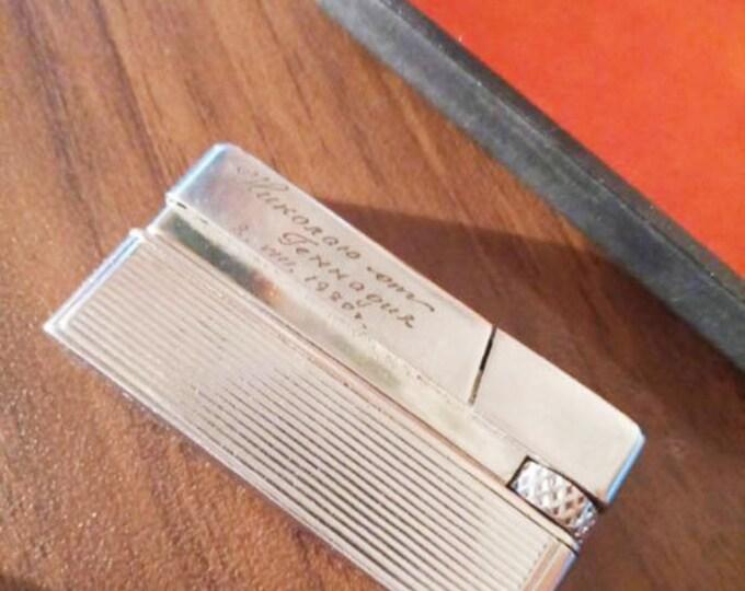 """Original Soviet Russian Vintage Metal Gas Lighter """"Leningrad"""" USSR With Box"""