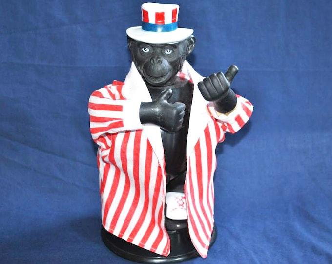 Rare Old Antique Vintage Erotic Fun Figurine Nude Monkey - Exhibitionist USA Suit Statue Art
