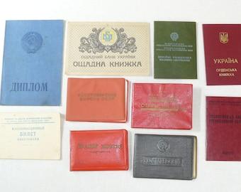 Set Of 10 Original Soviet Russian And Ukrainian Vintage Documents,Komsomol,Diplom,etc