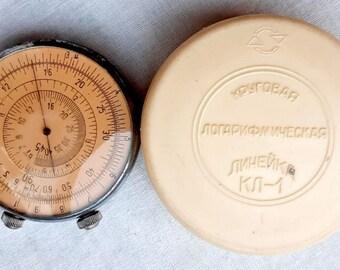 Original Soviet Russian Vintage Engineer Circular Logarithmic Ruler KL-1 USSR