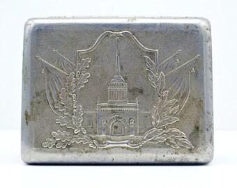 """Vintage Metal Cigarette Case Box """"LENINGRAD"""" Soviet Russian Cigar- Case. Tobacciana USSR."""