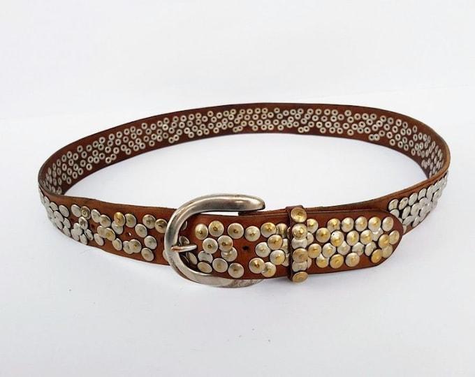"Original Vintage German Genuine Leather Riveted Belt ""Liebeskind"" Berlin"