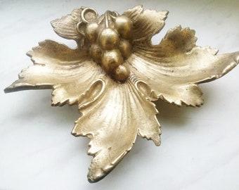 "Soviet Original Russian  Bronze Figurine Bronze Ashtray ""Leaf"" USSR"