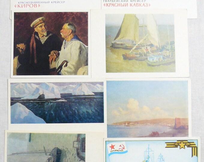 Set 12 Soviet Vintage Postcards Soviet Navy Fleet Marine Sea Ships History 70's