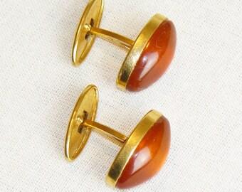 Vintage Original Russian Cuff Links Soviet Natural Gemstone Amber Cufflinks USSR VTG Accessories Gift