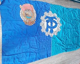 """Large Original Soviet Russian Vintage Old Banner Communist Blue Flag """"Labor Reserves"""" Communism USSR"""