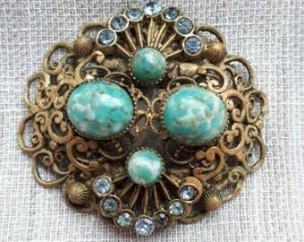 Vintage Soviet Russian Brooch. Vintage Russian Jewelry.Old Broach USSR.Soviet Bijouterie