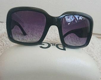 Vintage Sunglasses. Retro Sunglasses Dolce & Gabbana. Style 80's.Vintage Lens With Case