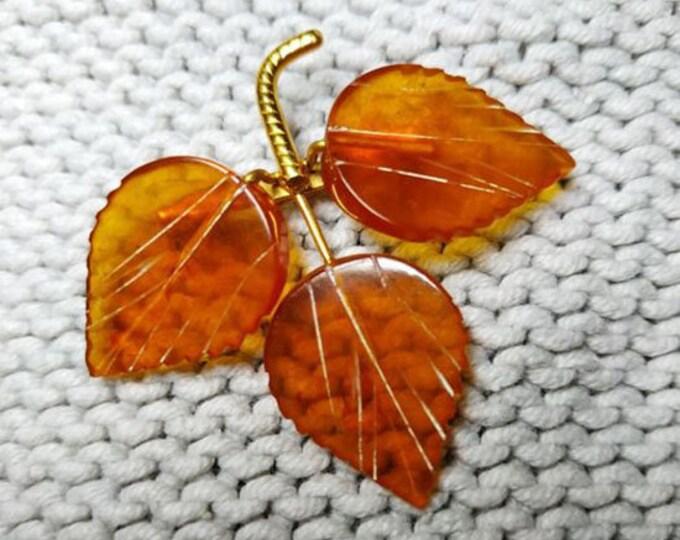 "Vintage Russian Soviet Brass ""Birch Leaves"" Amber Brooch.Vintage Jewelry.Old Broach USSR"