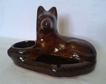 "Vintage Ashtray ""Dog"" Soviet Russian Porcelain Ceramic Figurine Ashtray. Tobacciana USSR 1960's-70's"