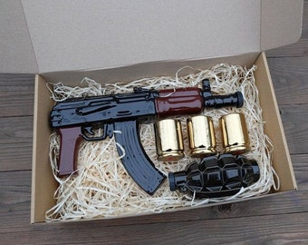"""New Gift Souvenir Decanter Set For Alcohol """"AK 47 And F1 Grenade"""". Ceramic Bottle and 3 Wineglasses. Shtof , Jug for Alcohol"""