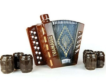 "New Gift Souvenir Decanter Set For Alcohol ""Accordion"". Ceramic Bottle  and 6 Wineglasses. Shtof , Jug for Alcohol"
