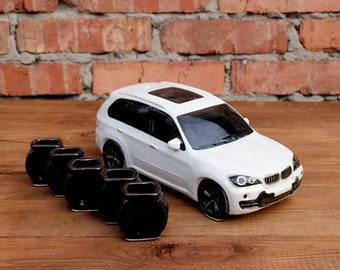 "New Gift Souvenir Decanter Set For Alcohol ""BMW X5"". Ceramic Bottle and 5 Wineglasses. Shtof , Jug for Alcohol"