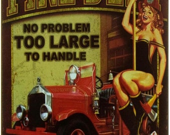 "New Loft Interior ""Fire Dept"" Erotic Pin Up Style Decor Metal Advertising Wall Tin Plate Sign"