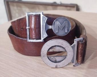 "Original Vintage Brown Swiss Boy Scout Leather Belt ""Litlis"" Interlocking Buckle"