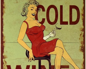 """New Loft Interior """"Here! Cold Wine"""" Vintage Style Decor Metal Advertising Wall Tin Plate Sign"""
