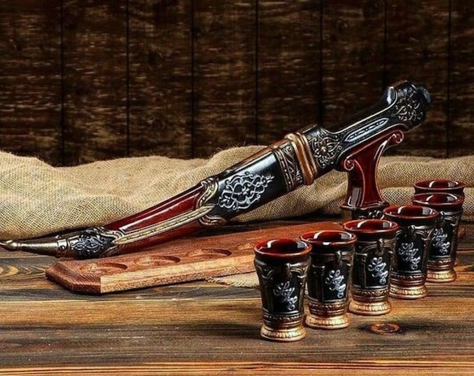 "New Gift Souvenir Decanter Set For Alcohol ""Dagger"". Ceramic Bottle and 6 Wineglasses. Shtof , Jug for Alcohol"