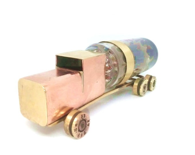 Military Trench Art Handcrafted Fuel Truck Refueller Made from WW2 Shells Cartridges