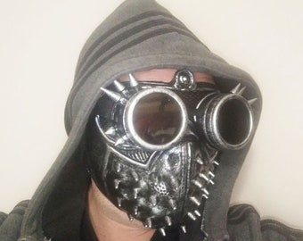 Handmade Steampunk Face Mask.Goth Style Goggles with Pairs Dark and Clear Lenses.Adjustable Size.Halloween Mask.Breathable Masquerade Mask.