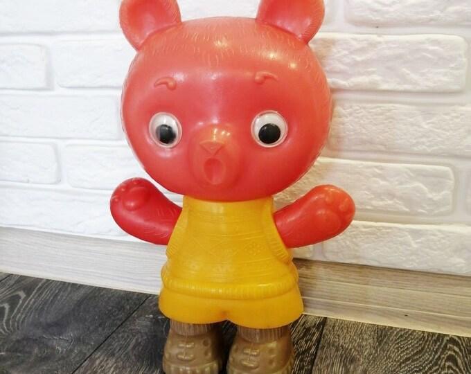 Original Soviet Russian Vintage Plastic Bear Toy Doll USSR 31 cm