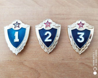 Set of 3 Vintage Soviet Army Pins Badges Soldiers Class Professional Level USSR Russian